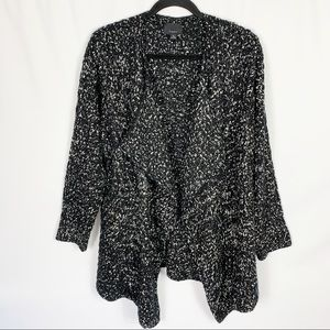 Lumiere Black White Marled Open Front Cardigan M